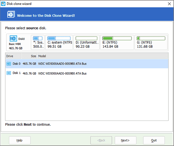 EaseUS Partition Master: Disk Copy