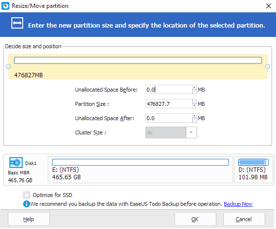 Make unallocated space for system drive C: