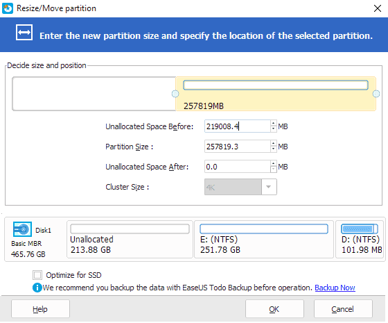 Move unallocated space to the right side of system drive