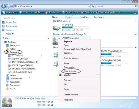 Apagar um disco CD ou DVD no Windows 10
