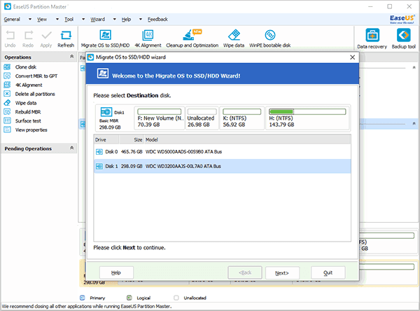 EaseUS Partition Master helps transfer Windows from HDD to SSD by asking choose destination disk.