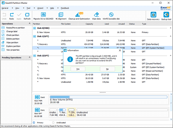 Reize EFI partition in Windows 10/8/7.