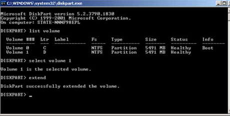 Modificar tamaño de particiones bajo Windows Server 2003 por medio de comando diskpart.