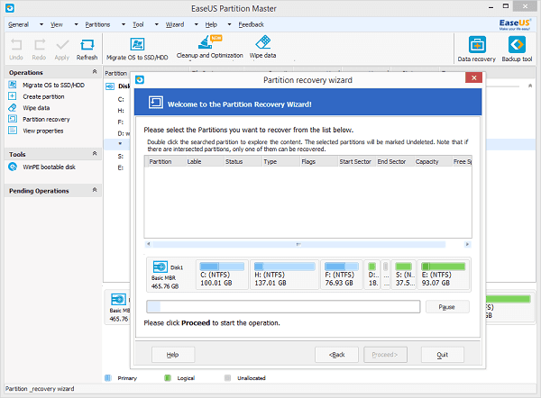 Search deleted or lost partitions