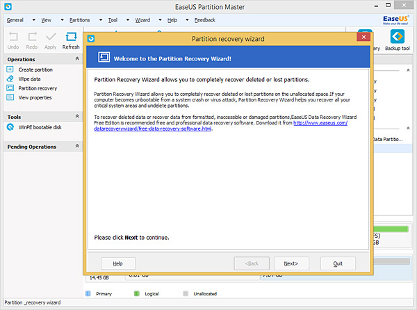 EaseUS Partition Master for free partition recovery from unallocated space
