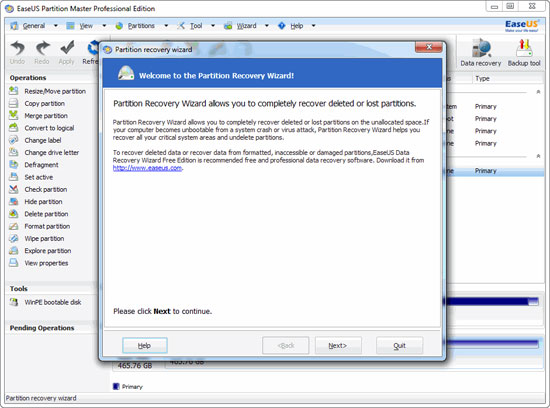 EaseUS Partition Master: Partition Recovery