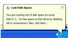 Windows Low Disk Space Warning